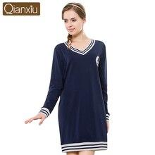 Qianxiu 2016 Knitted cotton Women Nightgown Sleepwear Autumn Long-sleeved Lounge Sleepshirt Stripe V-neck Nightdress Soft Nighty