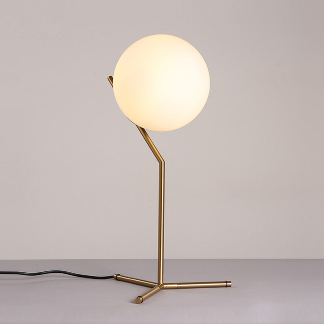 Nordic Dia 20cm White Glass Ball Table Lamp Gold Bedside Table Lamps