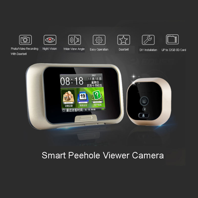Free shipping 2 8 video peephole digital wireless door for Door viewer camera
