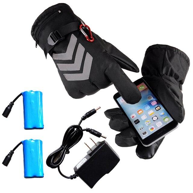 СНЕГОХОД лыжные перчатки с подогревом Сноубординг Термальность перчатки зимние спортивные мотоциклетные Для мужчин Для женщин варежки нагрева Батарея перчатки