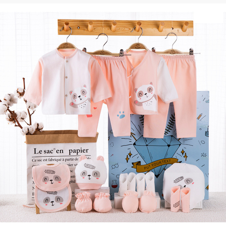 18 Pieces Baby Boy Clothes 100% Cotton Newborn Clothes Grey Little Panda Newborn Baby Girl Clothes Infant Clothing Boy Sets