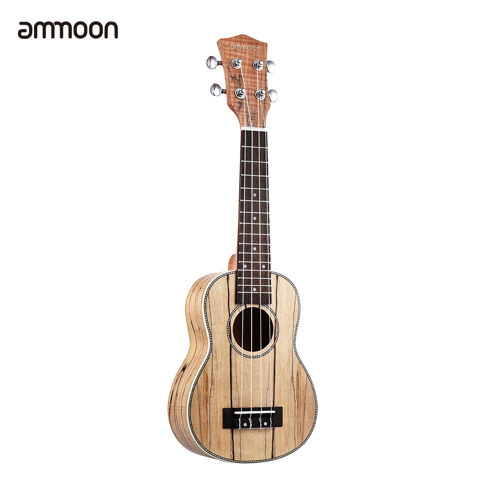 ammoon Soprano Ukelele 21 inch Spalted Maple Body Rosewood Fingerboard Hawaiian Guitar Ukulele Set with Bag
