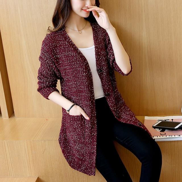 42 novas idéias no longo outono Coreano flor fio casaco de lã temperamento magro knit cardigan feminino F1204