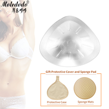 Silicone Breast Form Transparent Triangle Shape Silicone Chest Mastectomy Fake Breast Prosthesis 400g send Soft Sponge Pad D45 triangle shape new 2000g pair silicone breast form artificial huge fake false chest prosthesis boobs enhancer for mastectomy