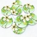 20 шт. 30 мм большие деревянные пуговицы, зеленые цветы, цветы, окрашенные, 4 отверстия, круглые, «сделай сам»