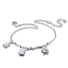 Sterling silver animal pendant anklets Fashionable woman solid 925 silver chains Cute girl anklets Charming lady