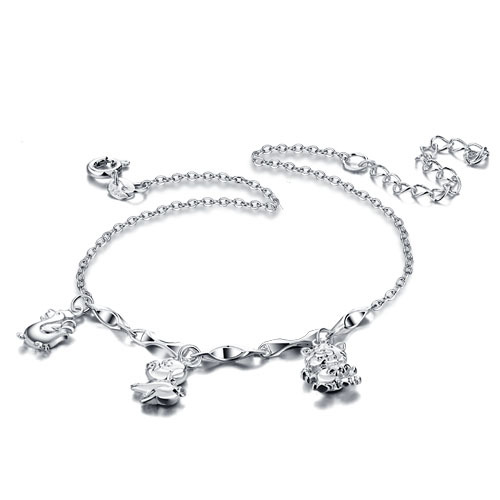 women 925 pure silver anklet Korean Hot Adjustable anklet Sweet and lovely Korea jewelry