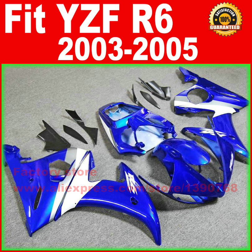 Road/race Motorcycle body fairings kit for YAMAHA R6 2003 2004 2005 YZF R6 03 04 05  blue white fairing bodywork part motorcycle front light headlight head lamp for yamaha yzf r6 yzfr6 yzf r6 2003 2004 2005 03 04 05