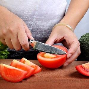"Image 2 - SUNNECKO Premium 3.5"" inch Paring Knife Damascus Steel Kitchen Knives Japanese VG10 Blade Razor Sharp Fruit Cutter G10 Handle"