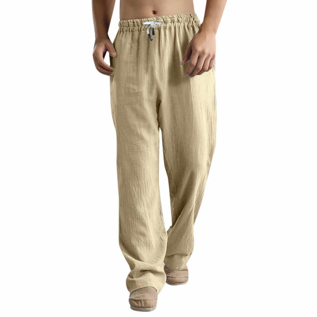 夏秋パンツスーパーサイズ男性のズボンリネンスタイルゆるいカジュアルな通気性屋外ソリッドスポーツパンツ pantalones ホーン # グラム