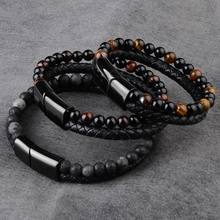 2019 Natural Stone Genuine Mens Leather Bracelet Black Stainless Steel Magnetic Clasp Tiger eye Bead Bracelet Men(China)
