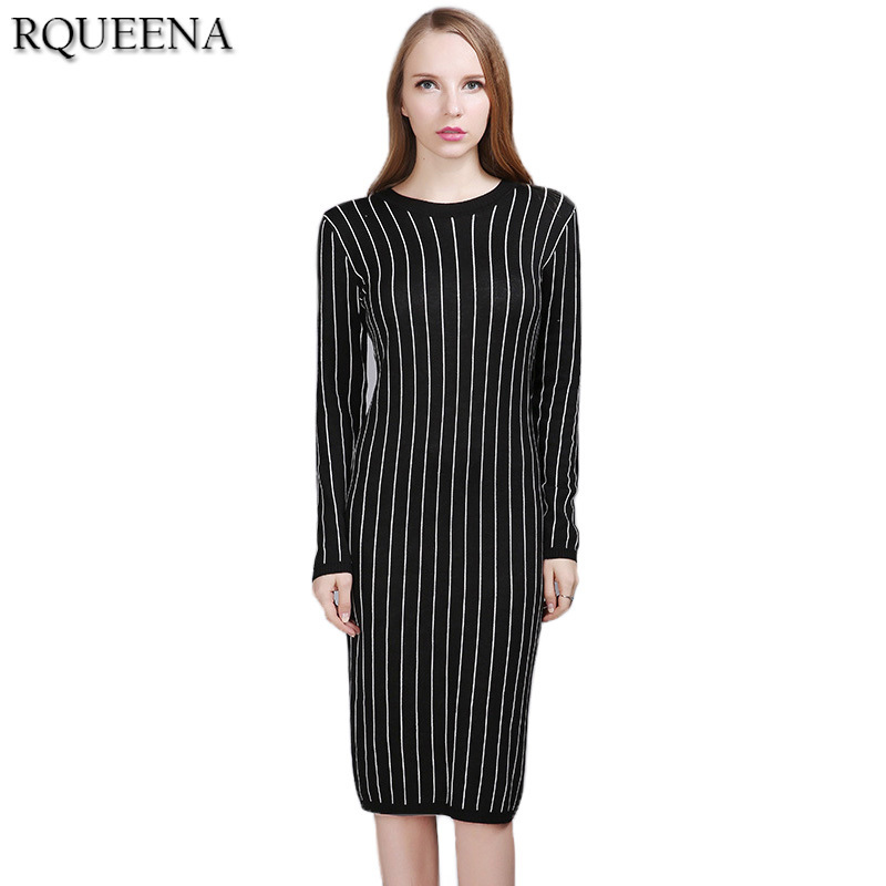 Rqueena European Style Women Knitted Black White Striped Dress Long Sleeve Cheap Clothing China Autumn Sexy Pencil Sweater Dress new sexy vs045 1 6 black and white striped sweather stockings shoes clothing set for 12 female bodys dolls