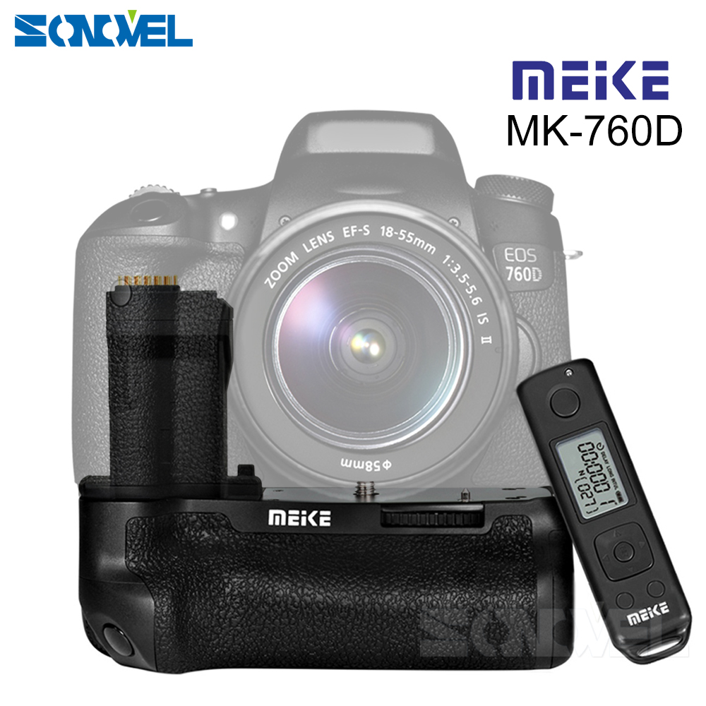 Meike MK-760D Built-in 2.4G LCD Display Wireless Remote Control Pro Battery Grip for Canon 750D 760D Rebel T6i T6s as BG-E18 meike lcd timer battery grip for canon eos 5d mark ii 5d2 digital camera rc5 wireless infrared remote control