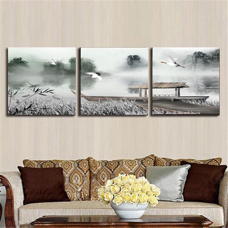 US $10.24 20% di SCONTO|Tela pittura pittura cinese per la parete del  soggiorno casa decorazione camera da letto 3 pezzo tela arte della parete  ...
