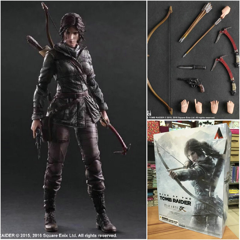 MODEL FANS 27cm The Tomb Raider Action Figure Lara Croft Play Arts Kai Toys PVC Anime Movie Toys Rise of The Tomb Raider game 26 cm rise of the tomb raider lara croft variant painted figure variant lara croft pvc action figure collectible model toy