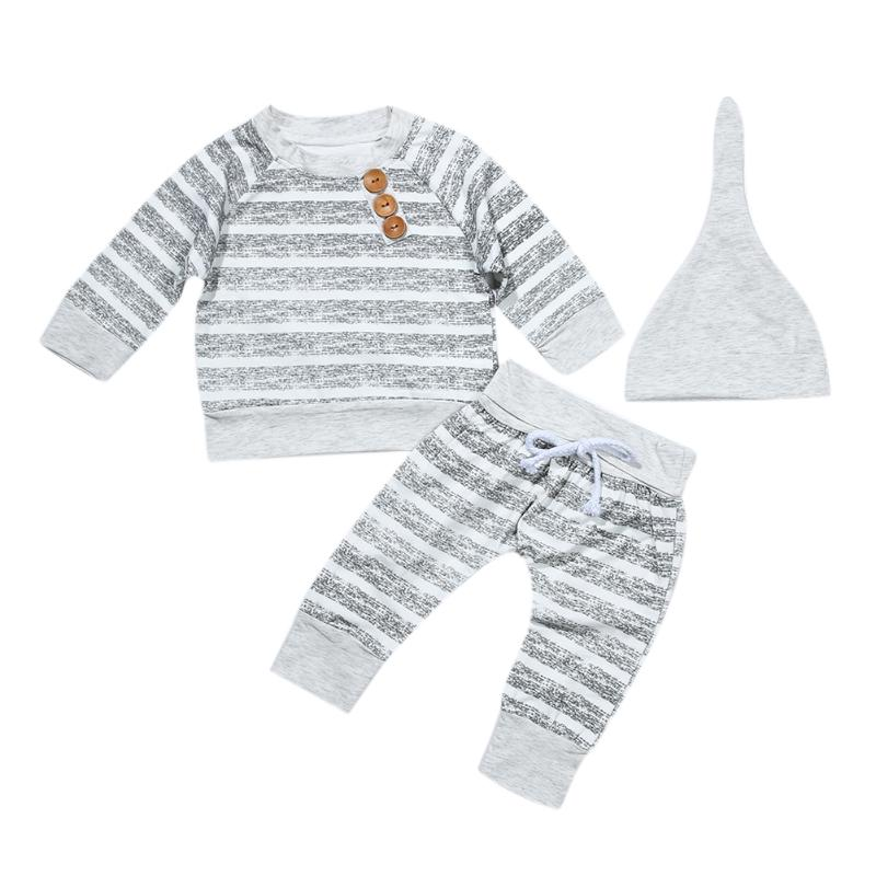 Baby Boys Casual Clothes Spring Autumn Winter Grey Stripe Boy Long Sleeve T-shirt + Pants + Hat Outfits Children Clothing Set