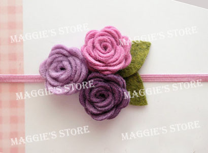 "3"" Baby girl rose felt headband Girls' Hair band Baby felt hair bows flower head band hair bands B015 60pcs"