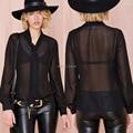 Blusas Femininas 2017 New Blouse Vintage Perspective Long Sleeve Black Shirt Women Blouses Plus Size Blusa Tie Decoration Tops