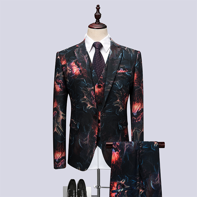 celebration : Ternos Masculino Suit Men Leisure Business Formal Dress Trend Print Bridegroom Wedding Dress British Style Smoking Homme Mariage