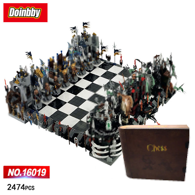 LEPIN 16019 Movie Classic Castle Giant Chess knight wizard Skeleton Figures Chariot Building Blocks Bricks Toys Kid Gift castle and knight