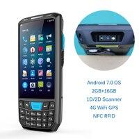 Tela grande 4g lte handheld pda android 7.0 pos scanner de código de barras 2d sem fio wifi bluetooth leitor de código de barras gps