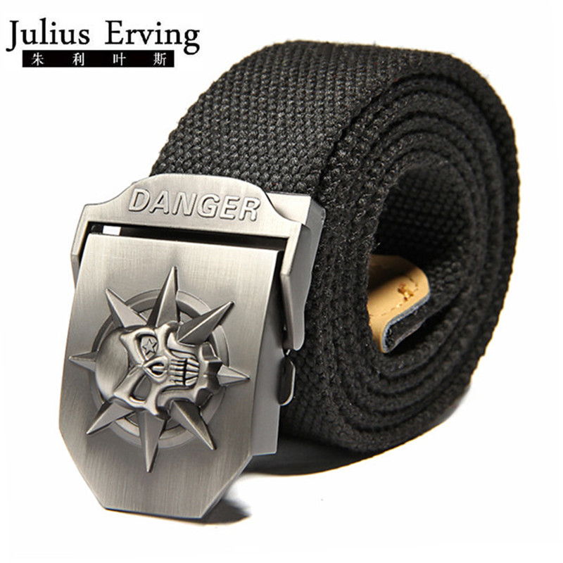 2017 New Wide Skull Canvas Belt Men Metal Buckle Canvas Band Bälte Brand Tactics Vävd Bälte För Jeans Waistband Thicken 120CM