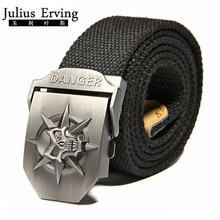 2017 New Wide Skull Canvas Belt Men Metal Buckle Canvas Strap Belt Brand Tactics Woven Belt For Jeans Waistband Thicken 120CM
