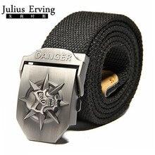 2017 New Wide Skull Canvas Belt Men Metal Buckle Canvas Strap Belt Brand Tactics Woven Belt For Jeans Waistband Thicken 120CM