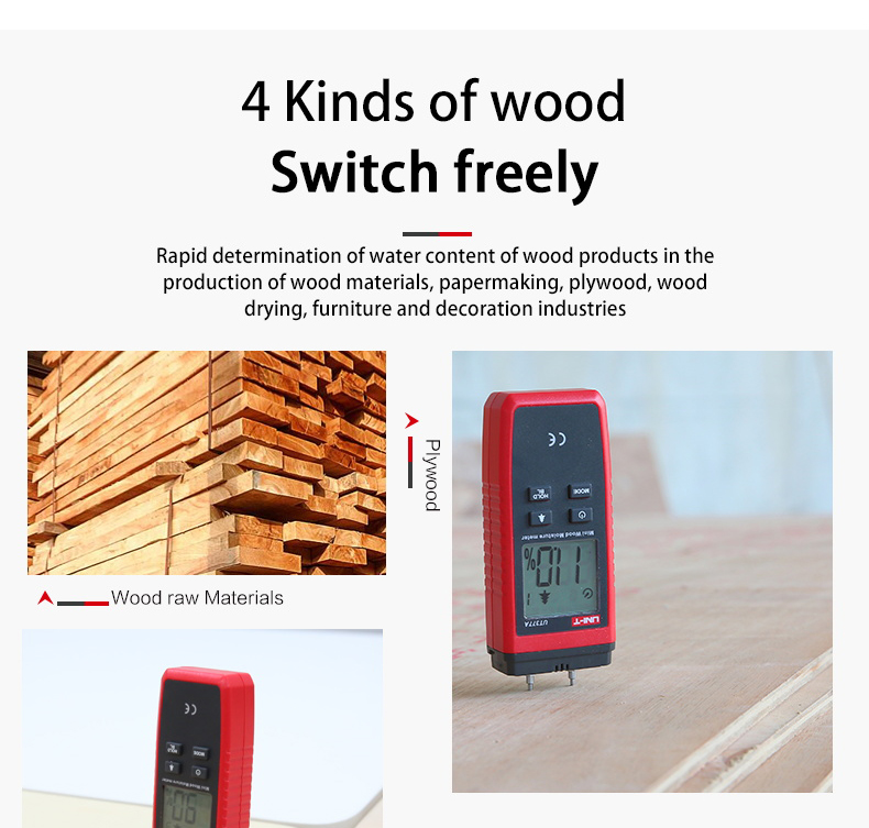 UNI T UT377A Digital Wood Moisture Meter Used as Humidity Tester for Paper Plywood and Wooden Materials 10