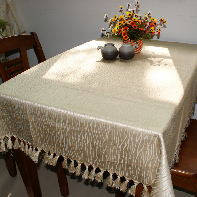 Home small tassel two-color table cloth jacquard tablecloth dining table cloth fashion gremial fashion brief cloth
