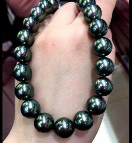 18 HUGE AAA 11-12 MM SOUTH BLACK GREEN PEARL NECKLACE YELLOW CLASP huge elegant 15 mm freshwater black pearl necklace 18 inch 925silver clasp