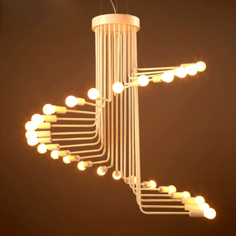 Industrial Retro Red Metal Chandelier Spiral staircase led Lamp 16/26 Heads Suspension For Parlor Bar Store Home Chandelier G115