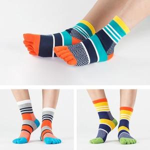 Image 2 - 5 Pairs/Lot Mens Summer Cotton Toe Socks Striped Contrast Colorful Patchwork Men Five Finger Socks Free Size Basket Calcetines