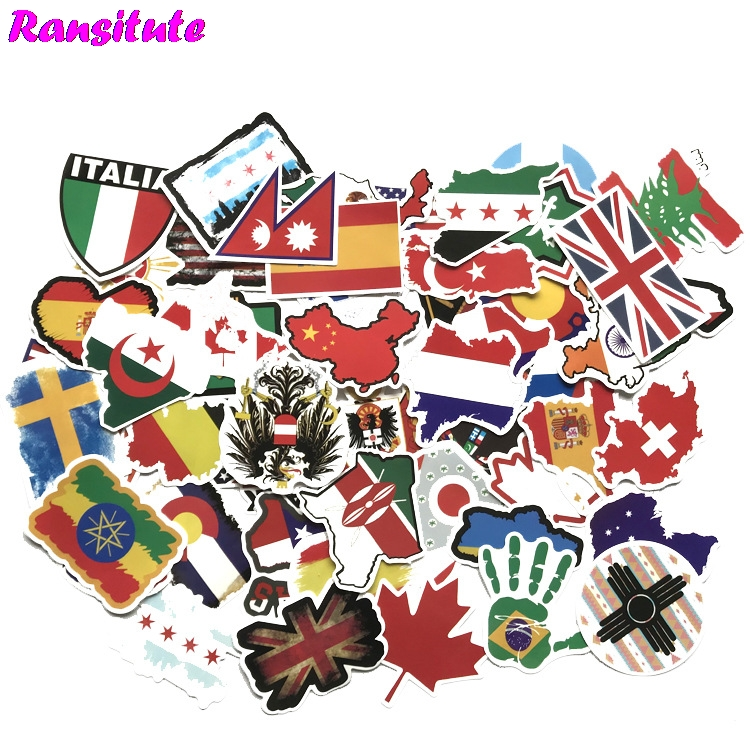52Pcs/set Map Graffiti Sticker Laptop Skateboard Baggage JDM Doodle Applique Cool Waterproof Sticker R408