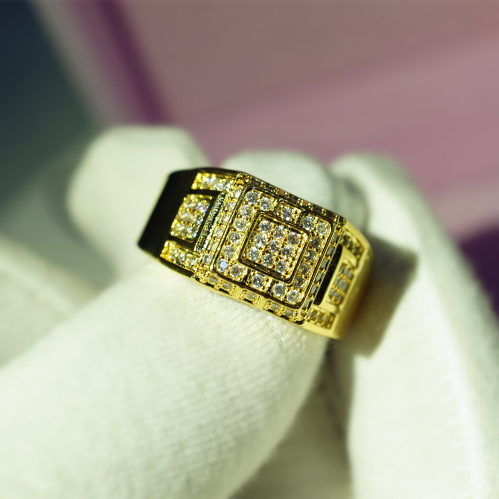 Full Zircon 14K Gold And Diamond Wedding Ring Anillos De Jewelry White Topaz Diamond Bizuteria Gold Ring 6 7 8-10 For Men Women