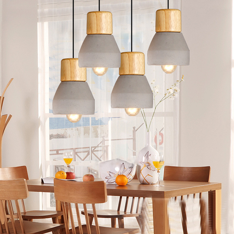 Nordic Ash Wood Cement Pendant Lamp Modern Concret Red Blue Black Gray Cement Pendant Light Drop Home Light Vintage Dining Room Lamp (12)