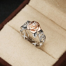 2019 New Arrival Rose Gold Color & Silver Colors Ring For Women Simple Style Flower Fashion Wedding Jewelry Dropshipping