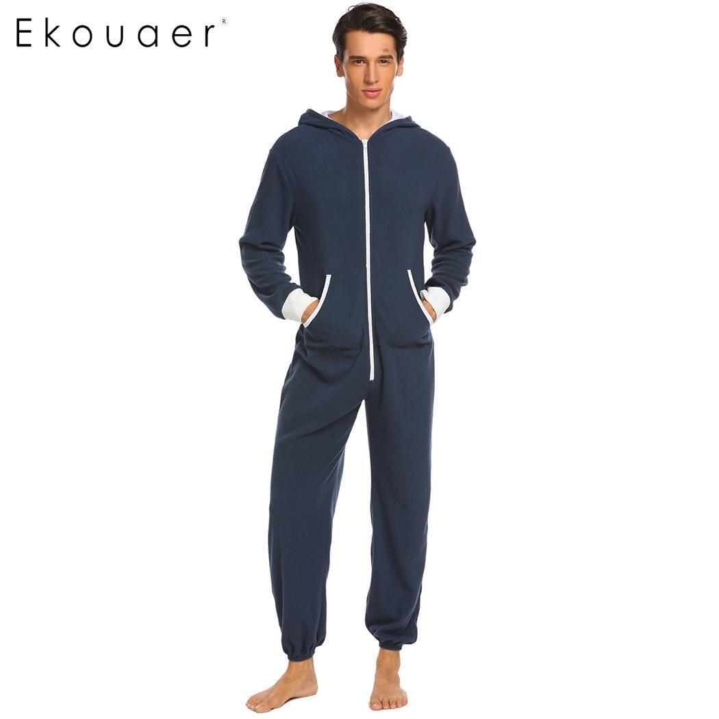 Ekouaer Men Pajama Set Onesies Sleepwear Fleece Hooded Long Sleeve Zip Up Patchwork Plus Size One-Piece Pajamas Sleepwear S-XXL