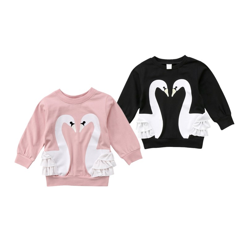 Lovely Baby Girl Swan Print Hoodies Sweatshirts Jumper Top Toddler Girls Kids Autumn Ruffles Pullover Hooded Cotton Tops Clothes