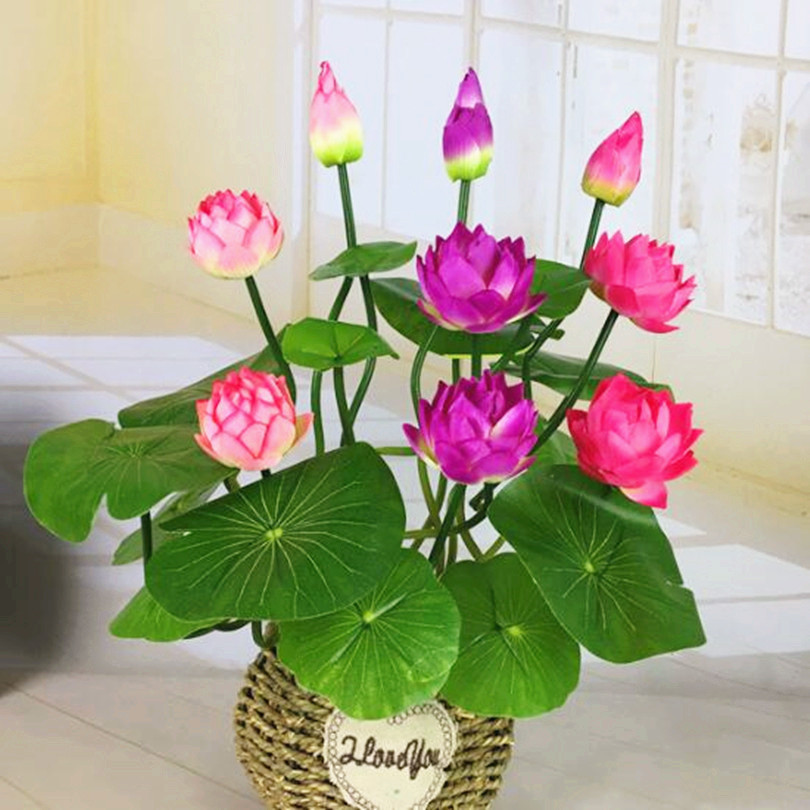 7pcs Artificial Lotus 17.72 Fake Bunch Flower Simulation Water Lily 4 Colors for Wedding Home Christmas Decorations