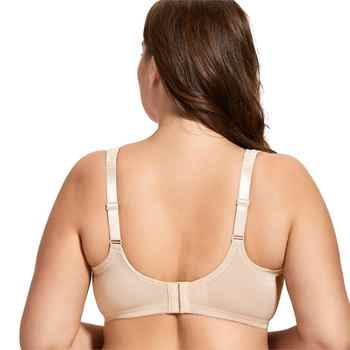 Women\'s Cotton Unlined Full Coverage Support Wire free Plus Size Minimizer Bra