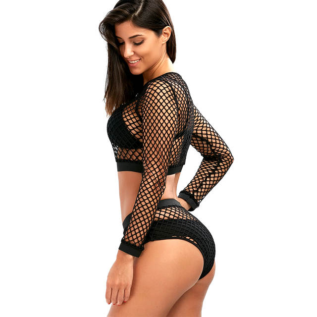 0ea8c9eee381a placeholder Belleziva Sexy Hollow Out Black Mesh Fishnet Bikini Cover Up  Round Neck Long Sleeve Summer Beachwear