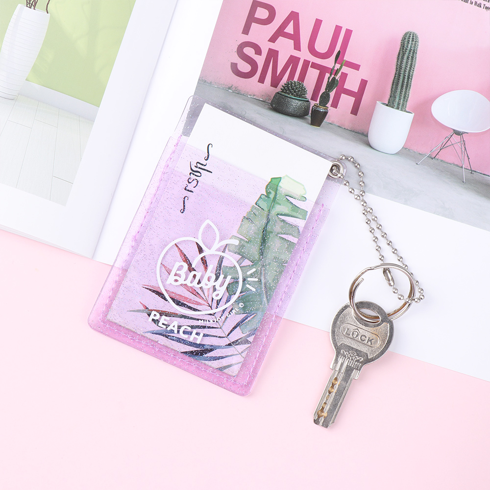 1pc Women PVC Card Holder Korean Solid Cute ID Card Case Mini Bus Credit Bank Card Holder Bus Card Set Card Accessories
