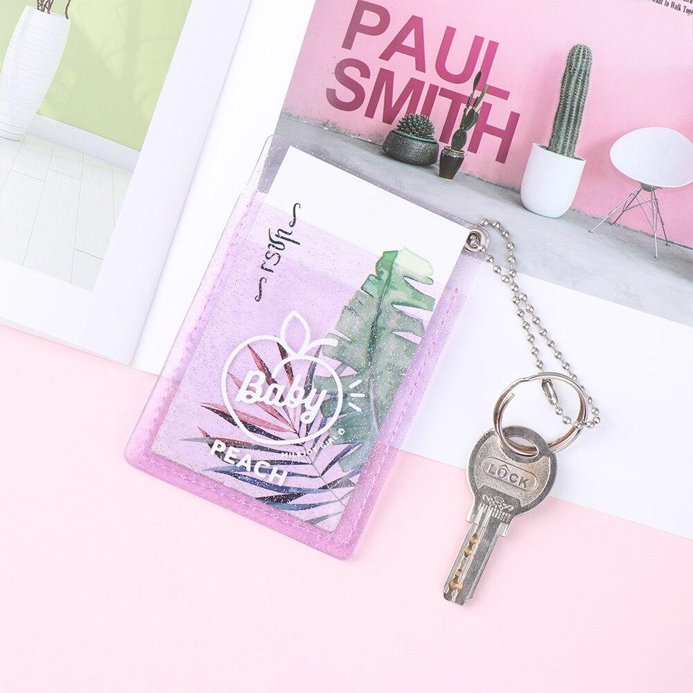 1pc Women PVC Card Holder Korean Solid Cute ID Card Case Mini Bus Credit Bank Card Holder Bus Card Set Card Accessories