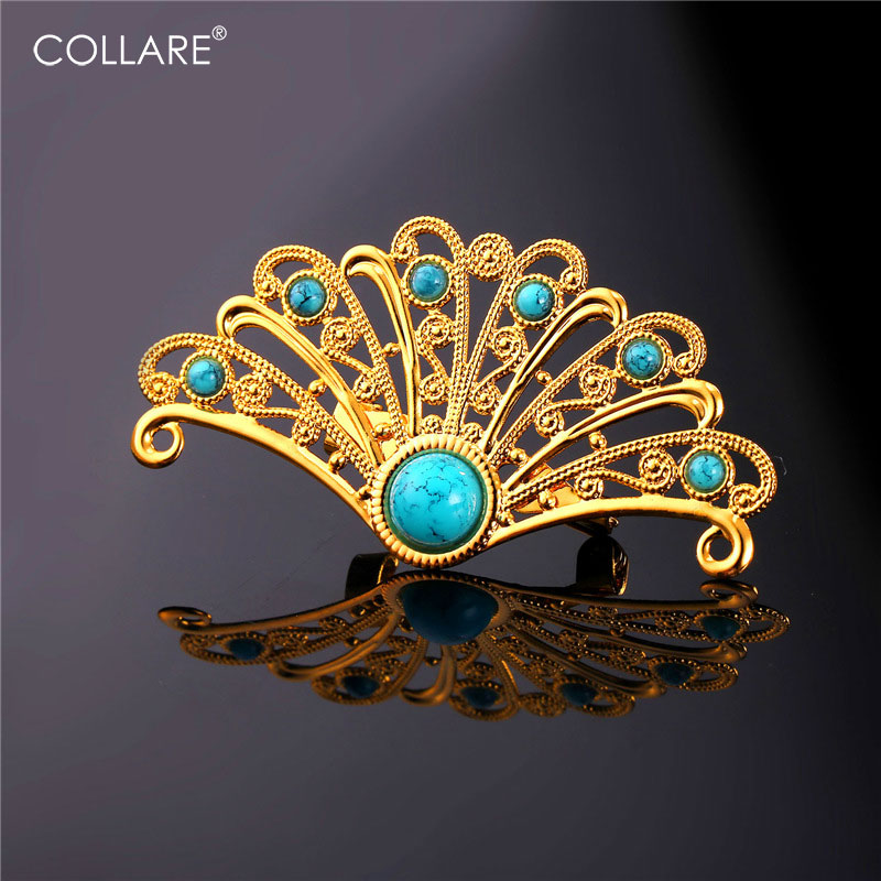 Collare Brooches For Women Gold/Rose Gold/Black Gun/Silver Color Turkey Brooches Peacock Tail Men Jewelry B121