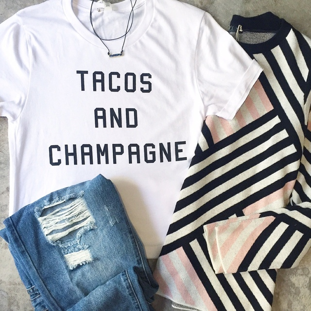 0dfa31d431ad TACOS AND CHAMPAGNE fashion Shirts Women cute t shirt letter Printed top  tees Tumblr clothes female