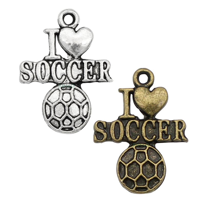 15pcslot--Antique Silver  Bronze I Love Heart Soccer Charms Pendants, DIY supplies 22x16mm
