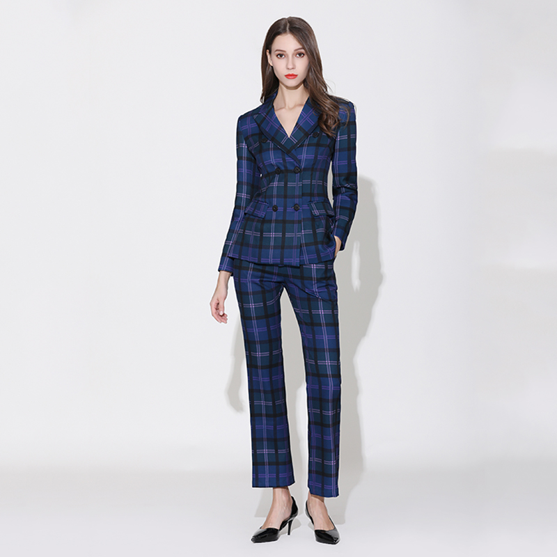 2019 Factory Price Elegant European American Runway Plus Size Pants Suit Plaid Printing Blazer Flare Trouser