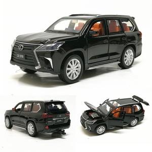 Модель автомобиля Lexus570 из сплава, 1:32, литье под давлением, Металлический Игрушечный Автомобиль, звуковой светильник, 6 открывающихся дверей,...