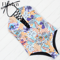 Floylyn Sexy One Piece Swimwear Women Push Up New Double Sided Bathing Suit Hipster Floral Print